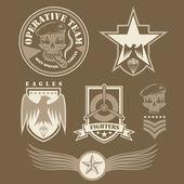 Special unit military emblem set vector design template — Stock Vector