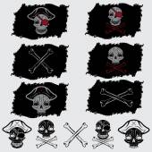 Pirate skull with hat set on flags and icons — Stock Vector