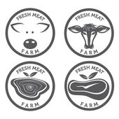 Fresh meat vintage labels set — Stock Vector