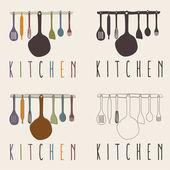 Kitchen utensils set vector design template — Stock Vector