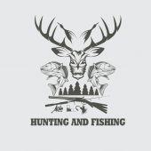 狩猟や釣りのビンテージ エンブレム ベクター デザイン テンプレート — ストックベクタ