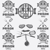 Prison bbq concept labels set — Stock Vector