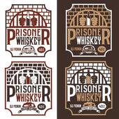 Prisoner whiskey vintage labels set vector design template — Stock Vector