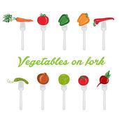 Illustration set of vegetables on fork. vector — Stock Vector