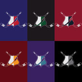 Set of vintage hockey crests — Stock Vector