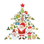 Ilustrace vánoční strom vánoční předměty. Vektor — Stock vektor