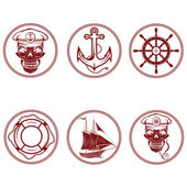 Set of vintage labels with boat ,captain skull ,wheel,anchor and — Stock Vector