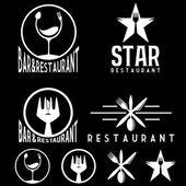 Set of vintage cafe and restaurant emblems — Stock Vector