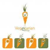 Vegetarian e shop illustration with carrot and shopping cart — Stock Vector