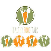 Healthy food talk concept with carrot,spoon and fork — Stock Vector