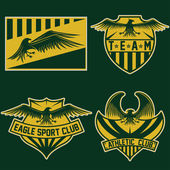 Sport team crests set with eagles vector design template — Stock Vector