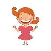 Illustration of funny smiling little girl. Vector — Stock Vector