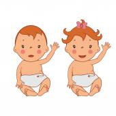 Illustration of funny smiling little babies .Vector — Stock Vector