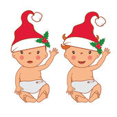 Illustration of funny smiling little babies in santa's hat. Vect — Stock Vector