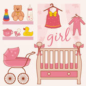 Illustration of room baby girl. Vector — Stock Vector