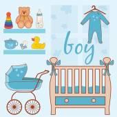 Illustration of room baby boy. Vector — Stock Vector