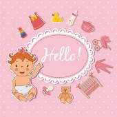 Illustration of cute baby girl. Vector — Stock Vector