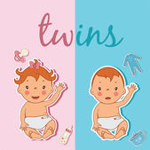 Illustration of cute twins. Vector — Stockvector