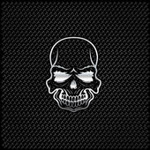Silver skull on metal background — Stock Vector