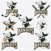 Set of skull bandit sports labels — Stock Vector