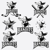 Set of skull bandit sports labels — Stock Vector
