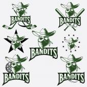 Set of skull bandit sports labels — Vettoriale Stock
