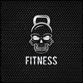 Silver skull in the form of kettlebell fitness concept — Vector de stock