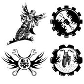 Set of bikers theme emblems with skull,flames and wrenches — Stock Vector