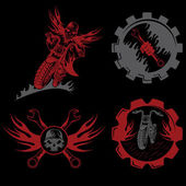 Set of bikers theme emblems with skull,flames and wrenches — Stockvector