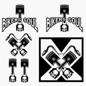 Biker theme labels with pistons and skulls — Stock Vector
