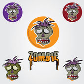 Cartoon Zombie face vector design template — Stock Vector
