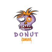 Cartoon Donut Zombie face vector design template — Stock Vector