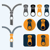 Zipper illustration and icons set flat design — Stock Vector