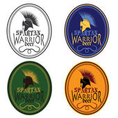 Old Vintage Antiques Spartan warrior beer bottle labels set — Stock Vector