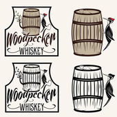 Woodpecker sitting on the barrel whiskey labels set — Stock Vector