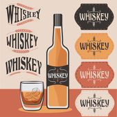 Retro collection of whiskey bottle,glass of whiskey with ice and — Stock Vector