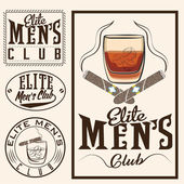 Men's club vintage labels with cigars and whiskey glass — Vettoriale Stock