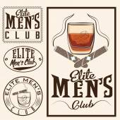 Men's club vintage labels with cigars and whiskey glass — Stock Vector