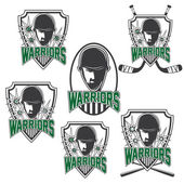 Set of vintage sports clubs with warrior face — Stock Vector