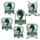 Set of vintage sports clubs with warrior face — Vettoriale Stock