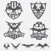 Football team crests set with eagles vector design template — Stock Vector