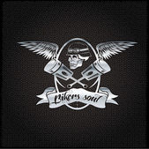 Bikers soul silver crest with skull,wings and pistons — Stock Vector