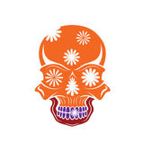 Day of The Dead Skull with flowers, dia de los muertos — Stockvector