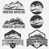 Set of vintage labels mountain adventure  — Stock Vector