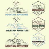 Set of sketch vintage labels mountain adventure  — Stock Vector