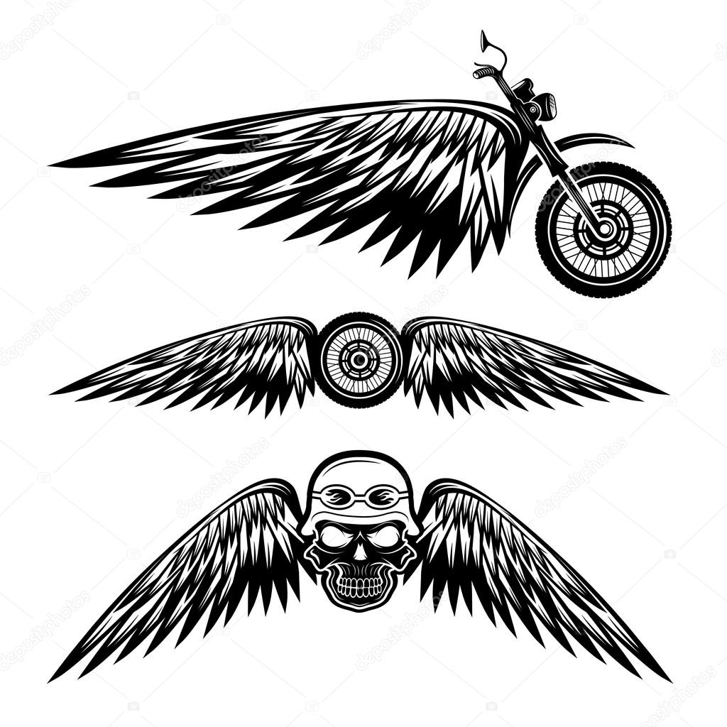 Stock Illustration Biker Theme Labels With Wheelbike on industrial motorcycles