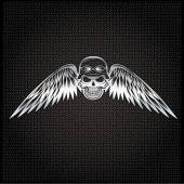 Biker theme silver label with skull and wings — Stock Vector