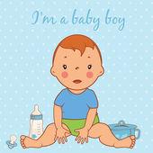 Illustration of cute baby boy. Vector — Stock Vector