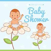 Illustration invitation card on baby shower. Vector — Stock Vector