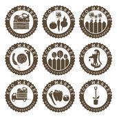 Illustration farmers eco labels. Vector — Stock Vector